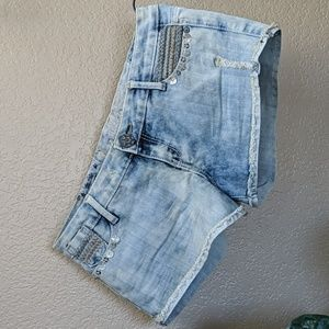 Embellished denim cut offs